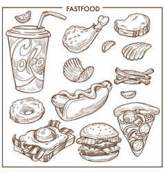 fast food sketch icons burgers pizza vector image vector image