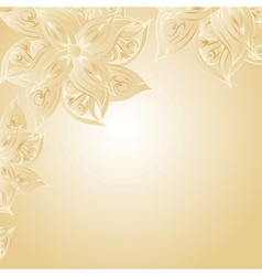 Golden background with floral ornament vector image vector image