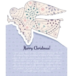 Merry Christmas card with angel vintage vector image