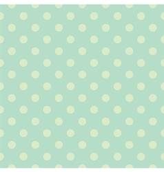 Seamless green polka dots pattern or background vector image