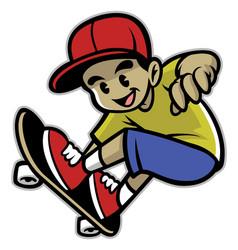 skater boy playing skateboard vector image