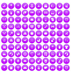 100 nursery icons set purple vector