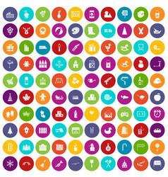 100 preschool education icons set color vector