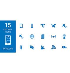 15 satellite icons vector image