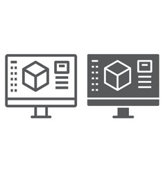 3d design line and glyph icon model and computer vector
