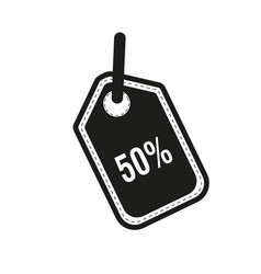 50 percent tag icon flat design style vector image