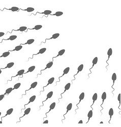 a large group of spermatozoa flows towards vector image