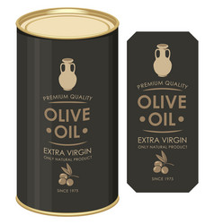 A tin can with label for olive oil vector