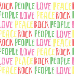 Abstract seamless pattern of words rock people vector