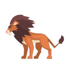 Aggressive roaring powerful lion mammal jungle vector