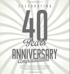 anniversary retro background 40 years vector image