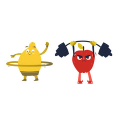 Apple and lemon characters doing sport exercises vector