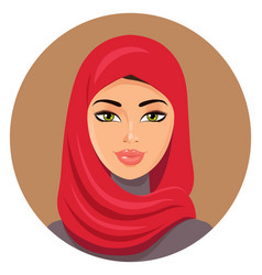 Arab muslim woman in red hijab vector