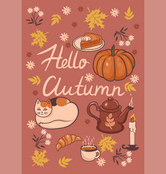 autumn card with inscription graphics vector image