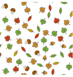 autumn flat seamless pattern on white vector image