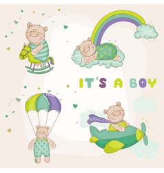 baby bear set - shower or arrival card vector image