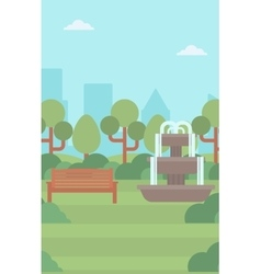 Background of city park with fountain vector