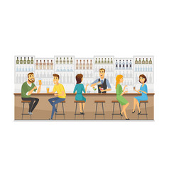 bartender at work - cartoon people characters vector image