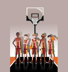 Basketball team players vector