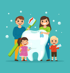 big tooth with family happy smiling people vector image