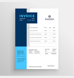 Blue clean business invoice template vector