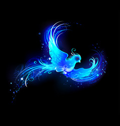 blue flame bird vector image
