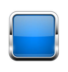 Blue glass button shiny square 3d web icon vector