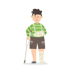 Boy after serious injury with broken limbs flat vector