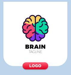 brain logo silhouette design template linear vector image