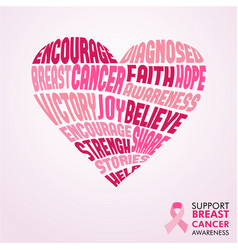 breast cancer awareness month pink love concept vector image