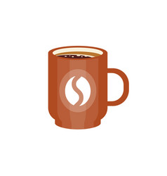 Brown ceramic mug of coffee with coffee bean logo vector
