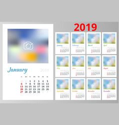 Calendar planner for 2019 year stationery vector