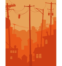 cartoon city in orange tones vector image