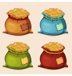 cartoon colors full bag gold coins vector image