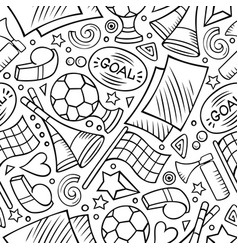 Cartoon hand-drawn soccer seamless pattern vector