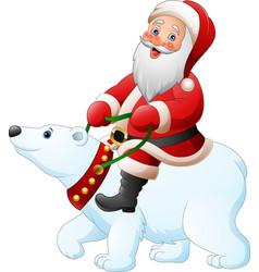 cartoon santa claus riding polar bear vector image
