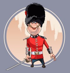 cartoon soldier of the royal guard stands with a vector image