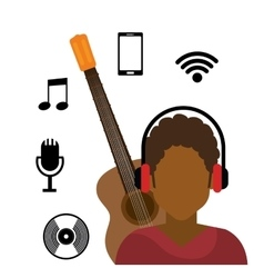 character afro boy headphone wifi music cd vector image