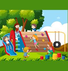 children playing at playground vector image