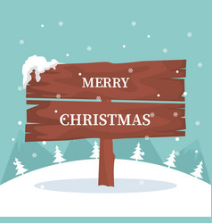 christmas card with wooden sign in the snow vector image