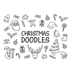 christmas doodles hand drawn icons vector image