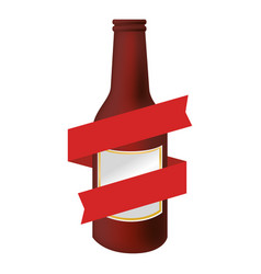 Color silhouette with beer bottle with ribbon vector