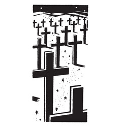 Cross headstones in graveyard vintage vector