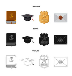 design of law and lawyer symbol set of law vector image