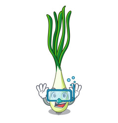 Diving cartoon fresh green onions on cutting board vector