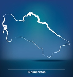 Doodle Map of Turkmenistan vector