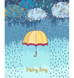 Doodles rainy weather decorative poster vector