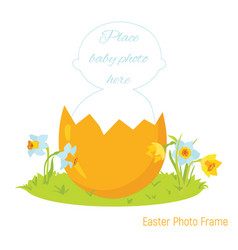 Easter baby photo frame vector