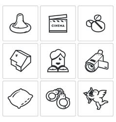 Erotic movies icons set vector