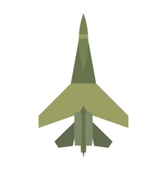 Flying jet fighter flat icon vector
